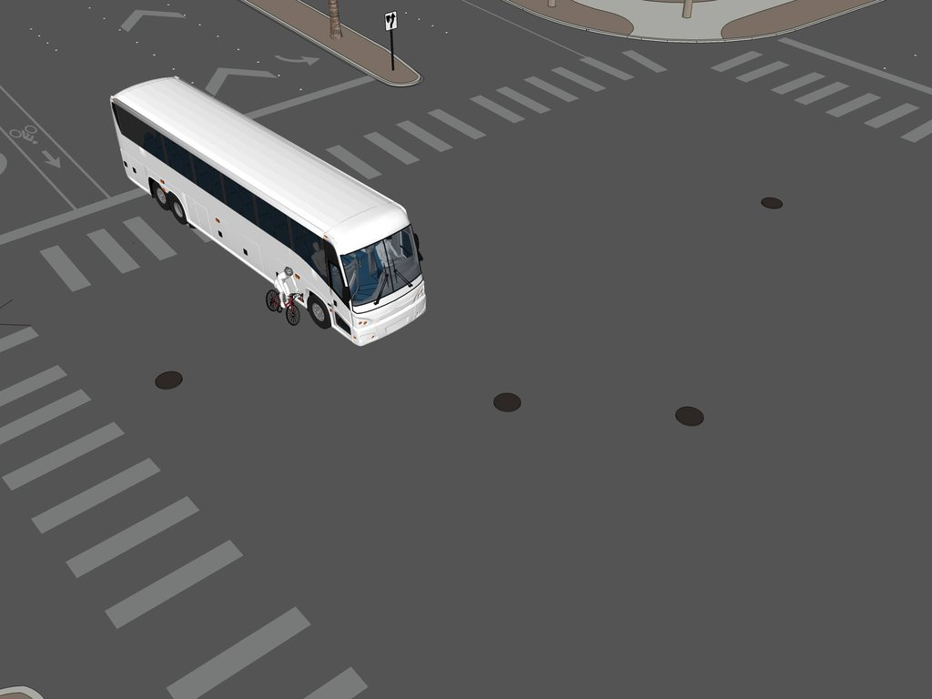 Initial contact with bus