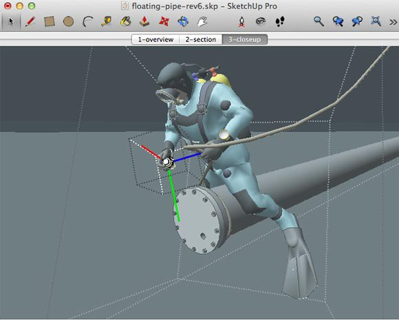 Editing digital model of diver in SketchUp